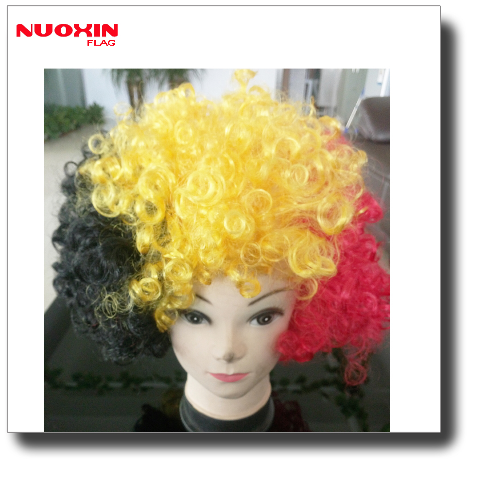 China hot sell 2018 world cup belgium black red yellow hair wig