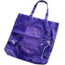 Best design attractive nylon reusable folding shopping bag into pocket