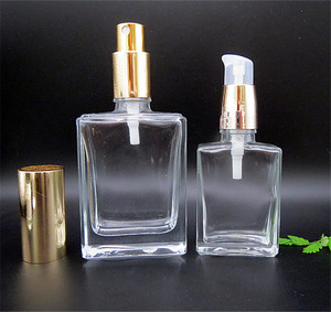 Luxury square perfume spray bottle 15ml 30ml 50ml 100ML clear rectangle glass bottle with fine mist sprayer logo printing