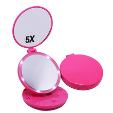 Table self standing plastic traveling handheld vanity makeup mirror with light