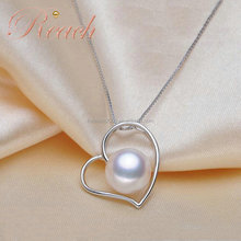 Wholesale Natural Fresh Water Pearl Locket Heart Pendant Necklace