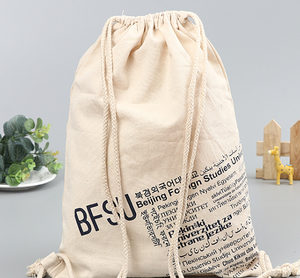 Promotional Waterproof Backpack Cotton Canvas Drawstring Bag Custom