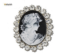 China Wholesale Classic European Retro Cameo Brooch For Women