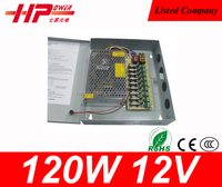 Factory price high reliability CE RoHS constant voltage single output ac dc switch mode10A 120W 12V 9ch CCTV power supply unit