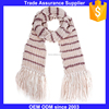 Wholesale Price Soccer Scarf/ Sports Knitted Winter Neck Warmer Scarf/long scarf with zebra stripe pattern and tassels