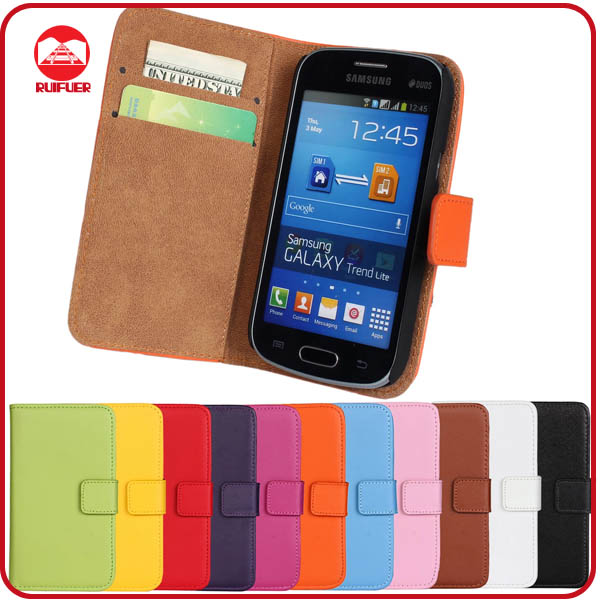 RF Manufacturer Folio Design With Card Slots Pouch Stand Wallet Flip Leather Case for Samsung Galaxy Trend Lite S7390