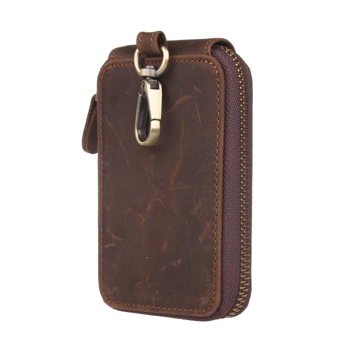Custom wholesale mens genuine leather key chain bags