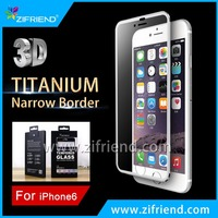 Full Cover Titanium Slim Broder 9H Tempered Glass Screen Protector for iphone 6 & iphone 6 plus