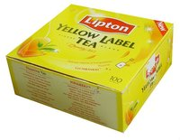 Lipton tea gift box, tea green yellow lable