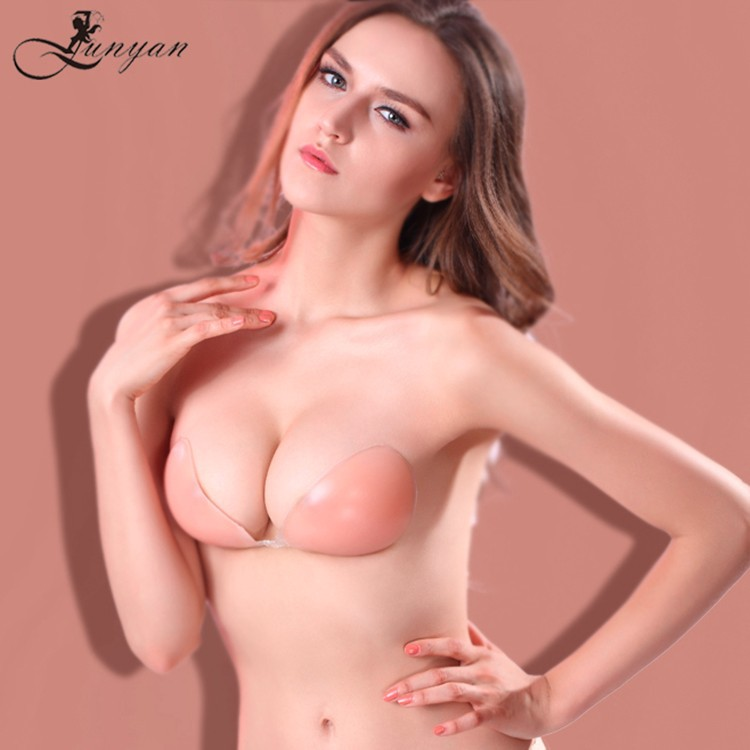 Junyan ladies sexy breast push up free size invisible adhesive silicone bra