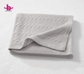 1 ply china factory super soft pink grey organic cotton baby knitted blanket