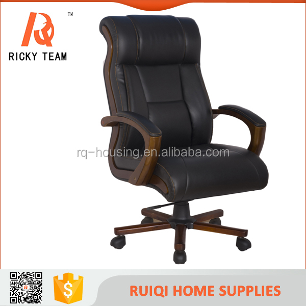 High quality solid wood leather adjustable office chair comfortable swivel professional executive boss office chair