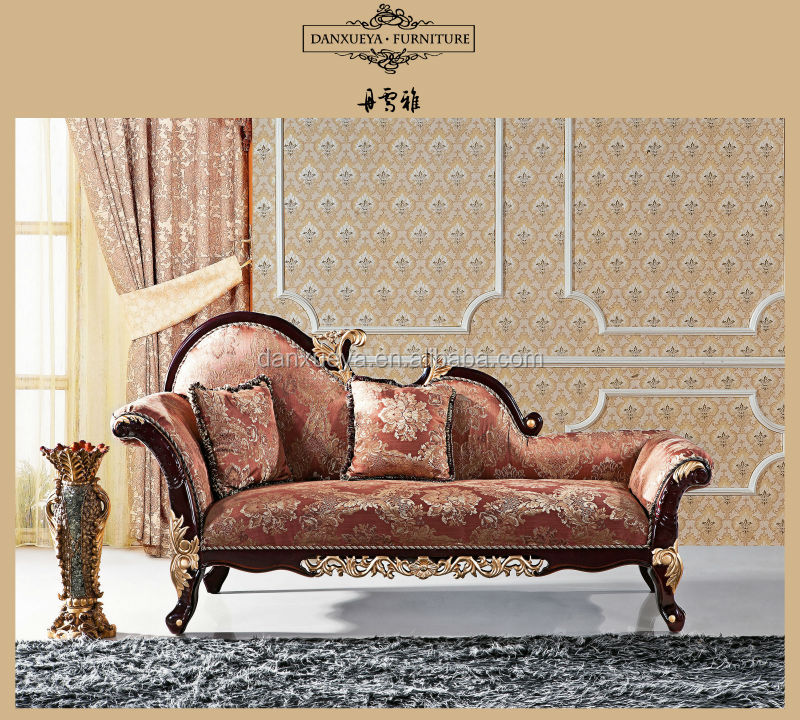 Classical wooden carved fabric chaise lounge f06c buy for Carved chaise lounge