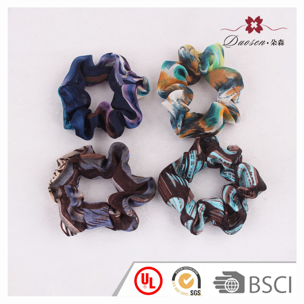 OEM accept vintage printed satin fabric elastic hair ties women hair scrunchie