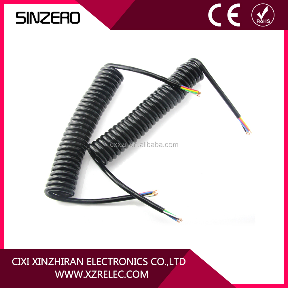 7 Way Trailer Spiral Cable 7 conductor plug with Spring Spiral Cable 7 Pin Trailer Connector