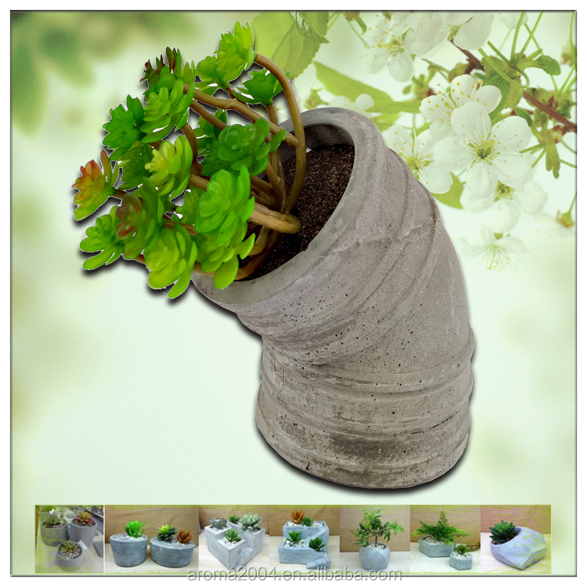 Decorative pots cement pipe mini planters for succulents