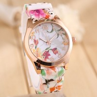 Fashion silicon flower quartz xxcom watch