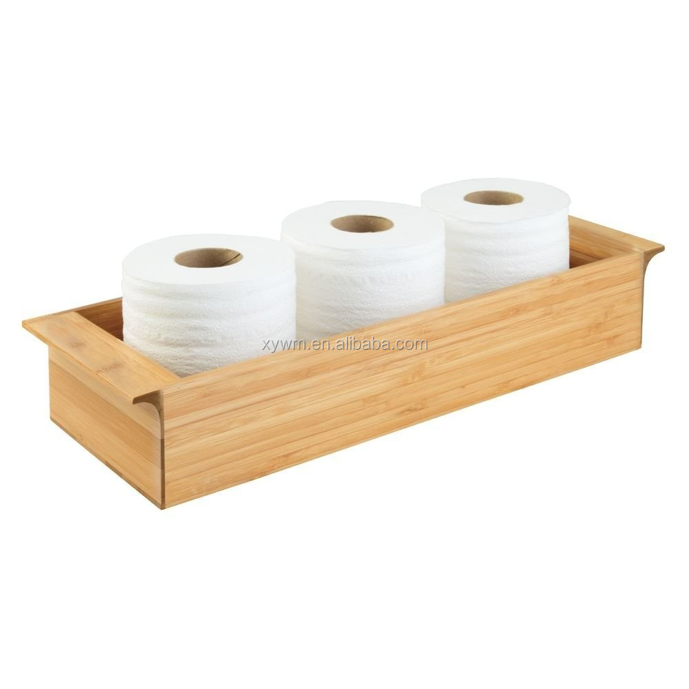 Natural Bamboo Toilet Tank Storage Tray For Tissues