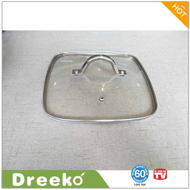 Durable Tempered Glass Square Fry Pan Lid For Cookware