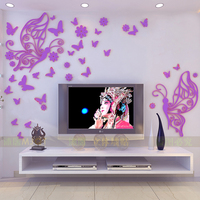 butterfly design TV backdrop wall stickers sofa wall decals butterfly