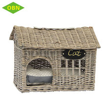 Home fancy weaving colored natural new style wicker cat bed