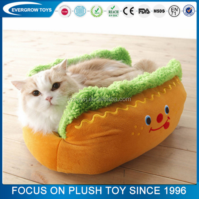 Hot sale comfortable super soft pet bed stuffed plush hot dog toys
