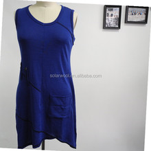 Blue high quality Ladies summer merino wool without sleeve dress