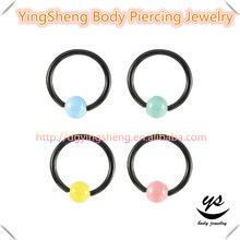 A variety of colors of Pearl Septum Hoop Lip Segment Nose Ring BCR piercing