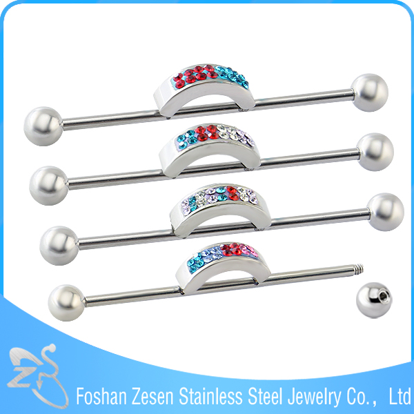 Multi Color Stainless Steel Factory Body Piercing Jewelry Crystal Industrial Barbell