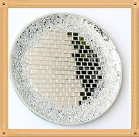 DIa 30cm decorative art Silvery mirror mosaic glass plates glass fruit plate