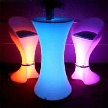 Portable Outdoor High Led Bar Table Light Up Led Cocktail Table For Party Events