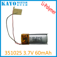 60mAh lithium ion polymer bluetooth headset battery