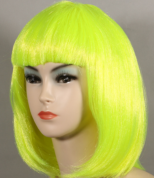 multicolor straight American party BOB fake hair ladies synthetic neon wigs with bangs