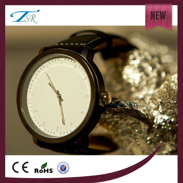 Cheap price blank dial custom face watch with IP black color alloy quartz watch