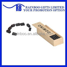 ABGS100 Hot selling top quality double six wooden domino set with wooden box for play game