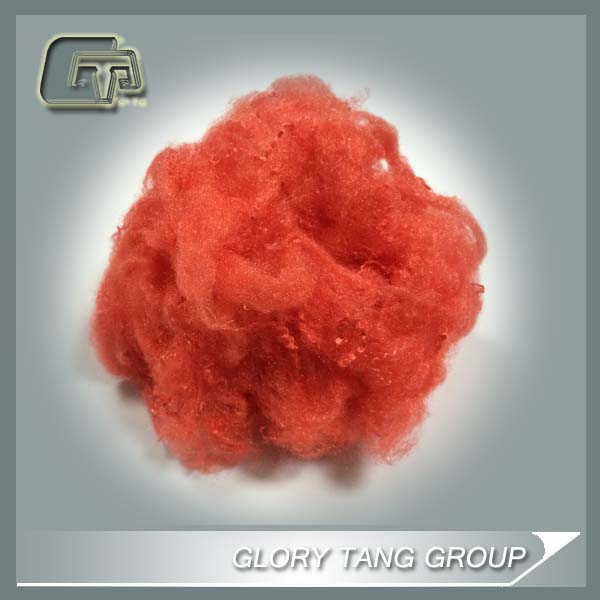 neon solution dyed polyester staple fiber for spinning , red color