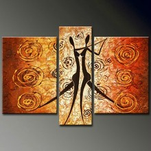 handmade home decor abstract dancing people 3 panel oil painting on canvas