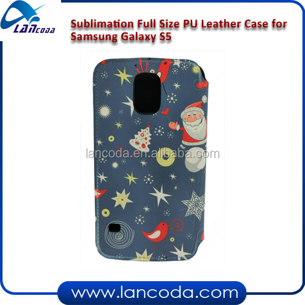 Sublimation printable flip phone case/blank leather phone cases for Samsung S5
