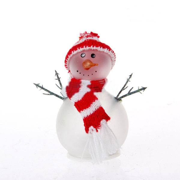 frosted LED light christmas glass snowman for decoration