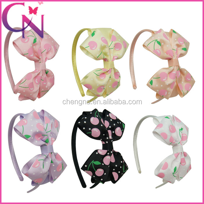 Hot Sale Boutique Printed Cherry Handmade Eco-friendly Inflatable Hair Bow Hair Band For Girls CNHB-13112606-8