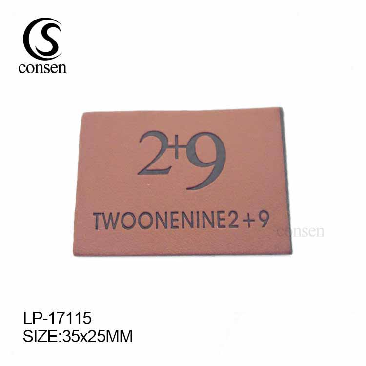 Brown garment accessories custom brand logo emboss leather tag and labels for jeans