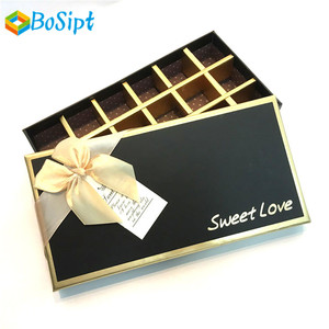 Elegant luxury customizable chocolate packing box for candy paper gift packaging with lid