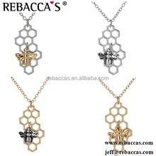 Gold Silver Plated Bumble Bee Charm Necklaces for Women Honey Bee Pendant Necklaces Fashion