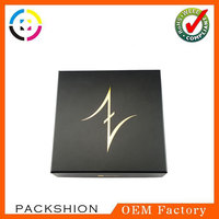 Black Color Lid and Base Paper Box with Golden Hot Stamping Logo