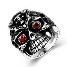 For B Unisex Gifts Fashion Skull Stainless Steel Red Eye Interchangeable Rings