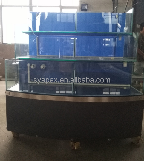 APEX supermarket or restaurant custom make large commercial water refrigeration wheel round curved glass fish tank
