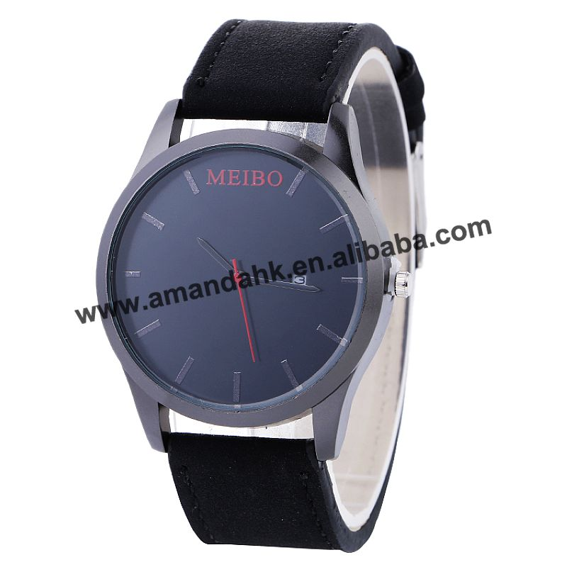 100pcs/lot new meibo black case leather watch for <strong>men</strong> black dial high quality casual watch with calendar wrap quartz clock