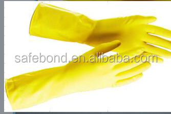 Yellow Red latex household gloves/rubber gloves wash gloves