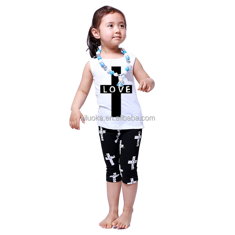 2016 Factory Sale Organic Cotton Apparel Baby Crucifix Outfits Kids Clothing Company