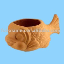 terracotta fish garden pot